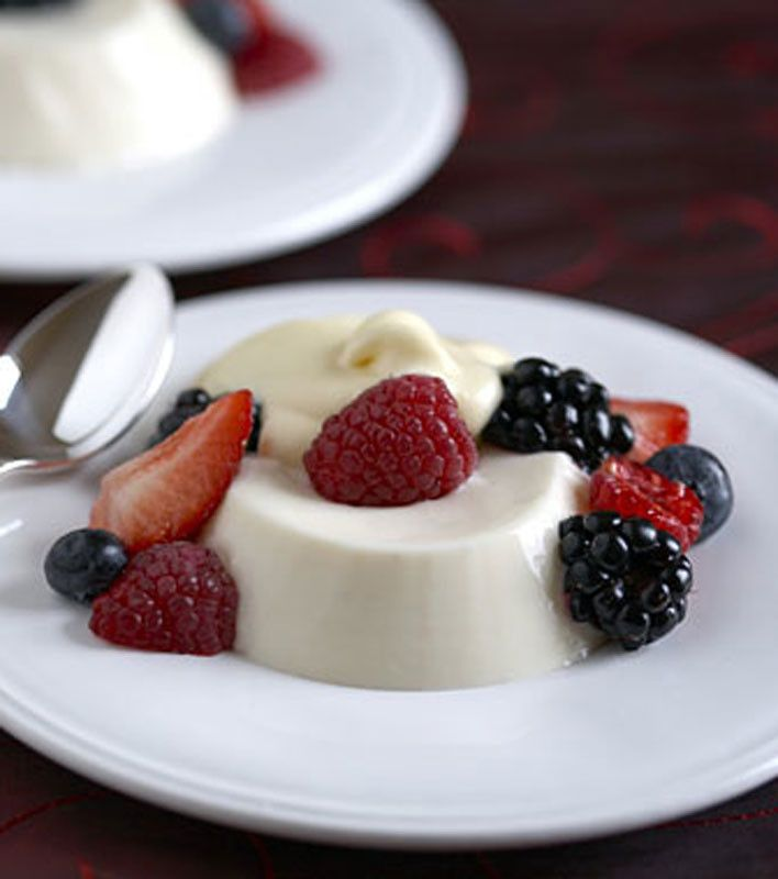 Buttermilk Panna Cotta with Berries and Vanilla Sabayon