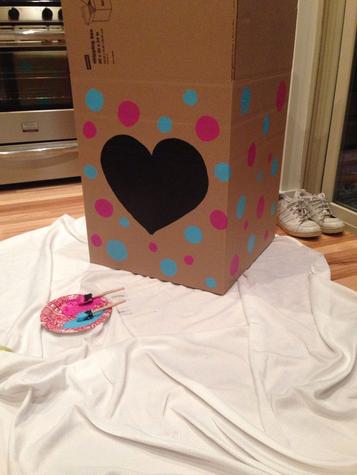 Diy Gender Reveal Box Baby Gender Reveal Party Gender