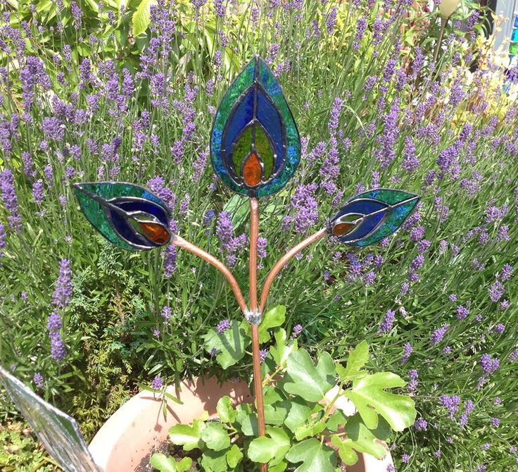 Stained Glass Peacock Feathers Garden Stake Stained
