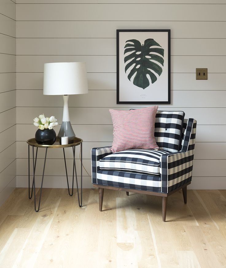 See How We Styled Our Black And White Plaid Arm Chair And Its Matching  Ottoman With Mid Century Lines. Also Available In Green Velvet And A  Neutral, ...