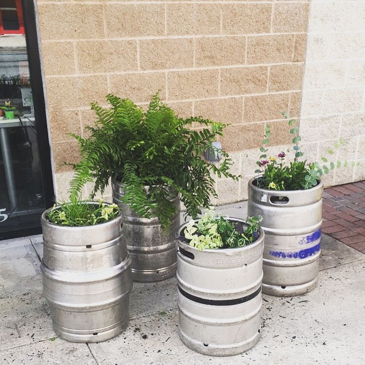 We re-purposed beer kegs into planters for outside of our office!