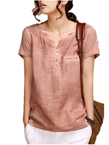 Sarriben Womens Summer Soft Loose Short Sleeve Linen Shirts Blouse Tops V Neck * Be sure to check out this awesome product.Note:It is affiliate link to Amazon.