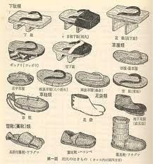 Chart of traditional Japanese footwear