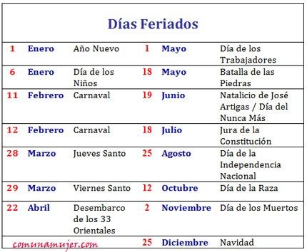Comuna Mujer - Días Feriados 2013 (laborables y no laborables)