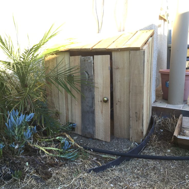 Quot Outhouse Quot I Made From Pallet Wood To Cover Sprinkler