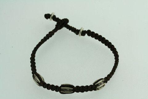 3 silver bead string bracelet - black