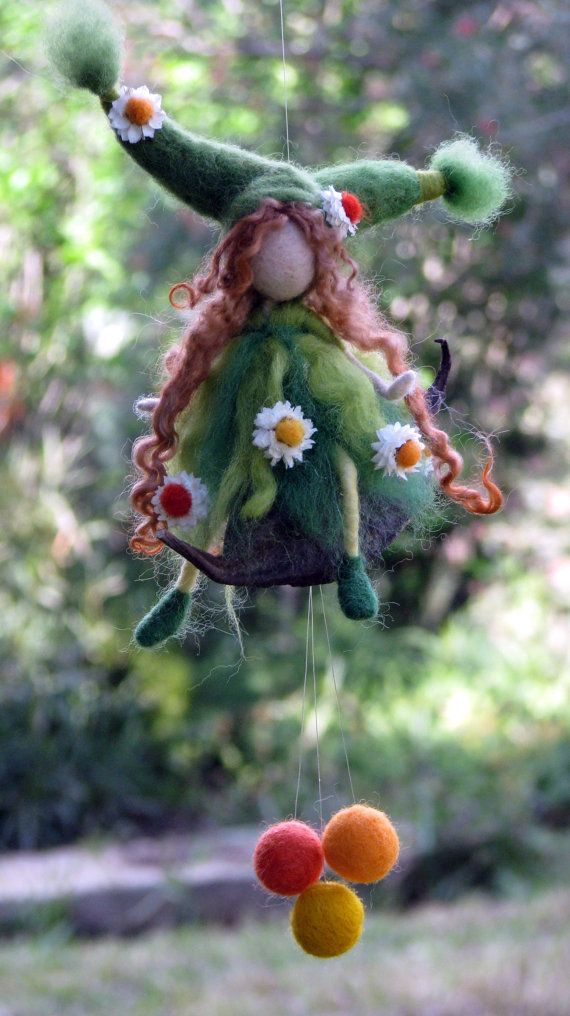 Spring gift mobile Needle felted Art doll Home decor Flower fairy on pod  #needlefelted #doll #fairy #home_decor #gift #nature