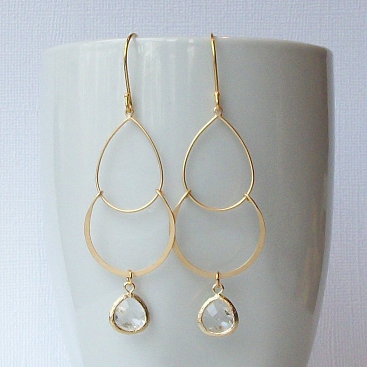 Gold and Clear Crystal Chandelier Earrings, Crystal Dangle Jewelry. $24.00, via Etsy.