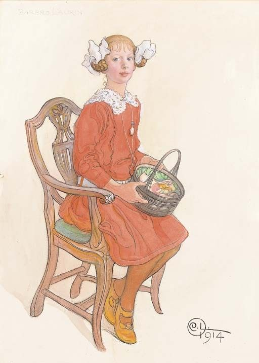 Carl Larsson (Swedish, 1853-1919), Portrait of Barbro Laurin signed with monogram and dated '1914' (lower right); and inscribed 'Barbro Laurin' (upper left) pencil, watercolour and ink heightened with white on paper 27 5/8 x 20 in. (70.2 x 50.8 cm.) Executed in 1914.