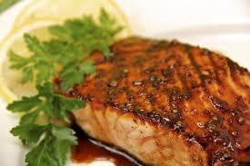 Honey-Glazed Salmon Ingredients 1/4 cup honey 2 tbsp Dijon mustard 1 tsp Worcestershire sauce Dash of salt Dash of pepper 4 4-oz salmon fillets Directions Preheat the oven to 400*F. Line 9-by-13-by-2-inch baking pan with aluminum foil. In a small bowl, stir together the honey, mustard, and Worcestershire sauce. Season with salt and pepper. Put the samon fillets in the center of the pan and drizzle with the honey-mustard sauce. Bake for 20 to 22 minutes