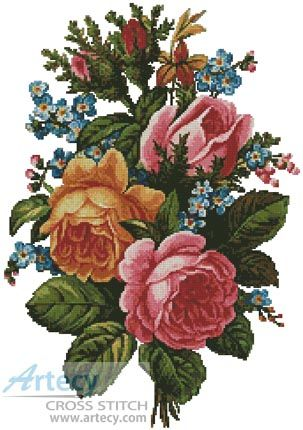 Artecy Cross Stitch. Victorian Bouquet 2 Cross Stitch Pattern to print online.