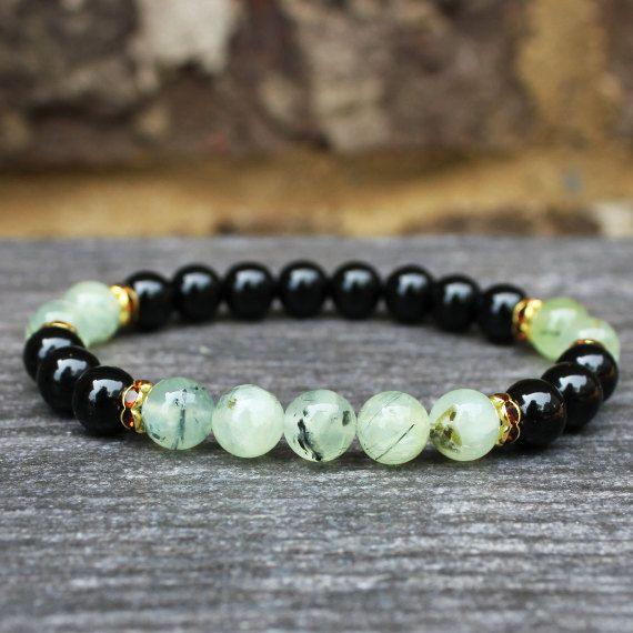 Healing Bracelet Intention Bracelet Natural Energy Gemstone Jewelry Yoga Mala Meditation Beads Black Tourmaline Prehnite - Love, Grounding