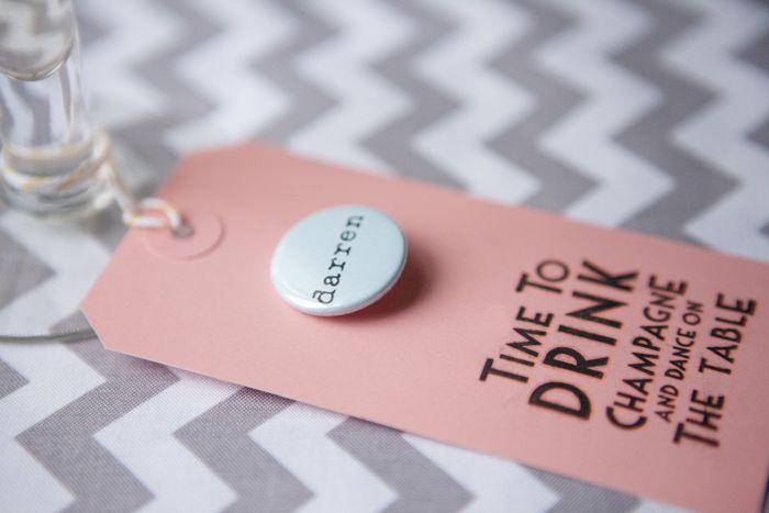 Personalised Sugar Almond Name Badges - Wedding in a Teacup