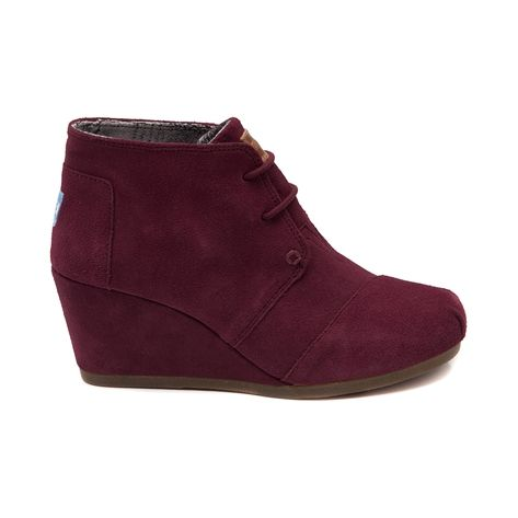 Shop for Womens TOMS Desert Wedge Casual Shoe in Burgundy at Journeys Shoes. Shop today for the hottest brands in mens shoes and womens shoes at Journeys.com.The TOMS Desert Wedge features a soft suede upper, tonal accents, and monochromatic lacing. Heel height is approximately 2 34.