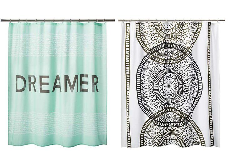 Pin for Later: 21 Affordable Pieces From Target to Make Your Dorm Room Cooler Than the Rest  Room Essentials Dreamer Shower Curtain in Mint ($15). Room Essentials Placed Medallion Shower Curtain in White ($15).