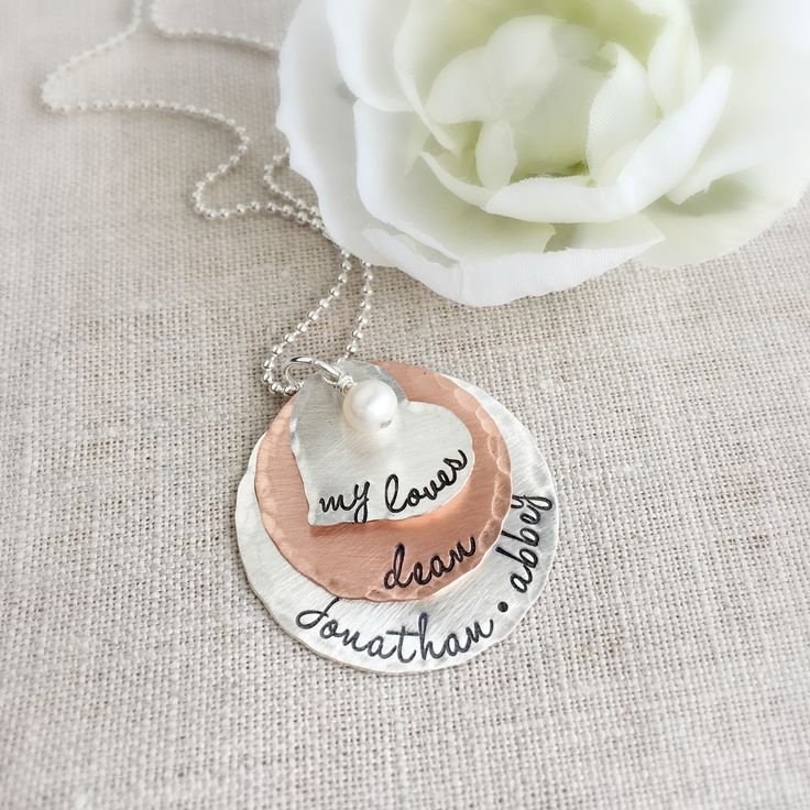 Personalized My Loves necklace in mixed metals.
