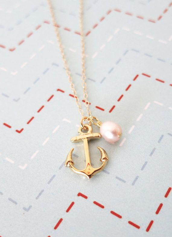 Gold Anchor necklace - simple gold necklace, Freshwater Pearl, Anchor, mentor, bridesmaids, best friends, sisters, mum, navy, by GlitzAndLove on Etsy