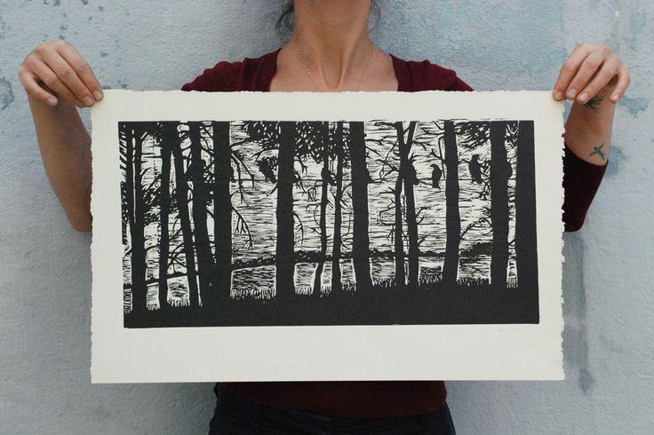 Bosque - Linogravura - Ana Torrie 2013