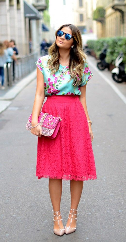 Floral with a lace skirt! It needs a brightly colored mani to match! #lace #skirt #pink #bright #fashion