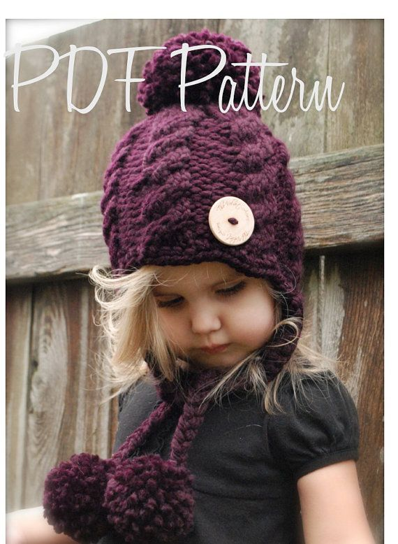 Knitting PATTERN-The Roxie Hat 12/18 months por Thevelvetacorn