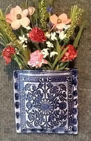 """5"""" x 5"""" wall pocket made from a vintage greeting card print plate from the 1940's. A one of a kind piece in colbolt blue."""