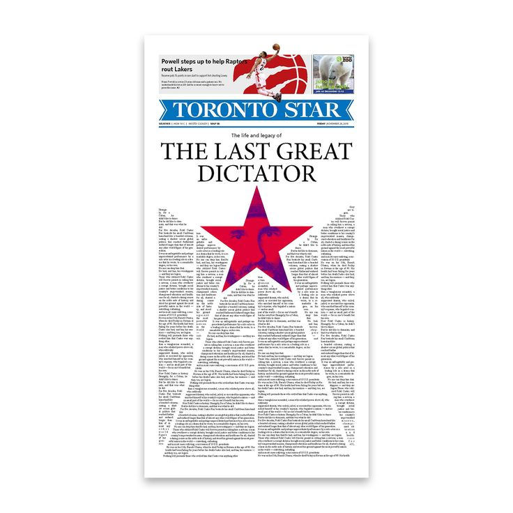 Front page design for The Toronto Star newspaper. . . . . . #graphicdesign @thetorontostar #cover #typography #typesetting #illustration #fidelcastro #cuba #newspaper @societyfornewsdesign @newspaperclub designer: @si.fani #toronto #canada #layout #aiga #aigadesign #print #star #news #creative #art #focus #Toronto #Ontario #Canada #newspaper #paper #Cuba #Castro