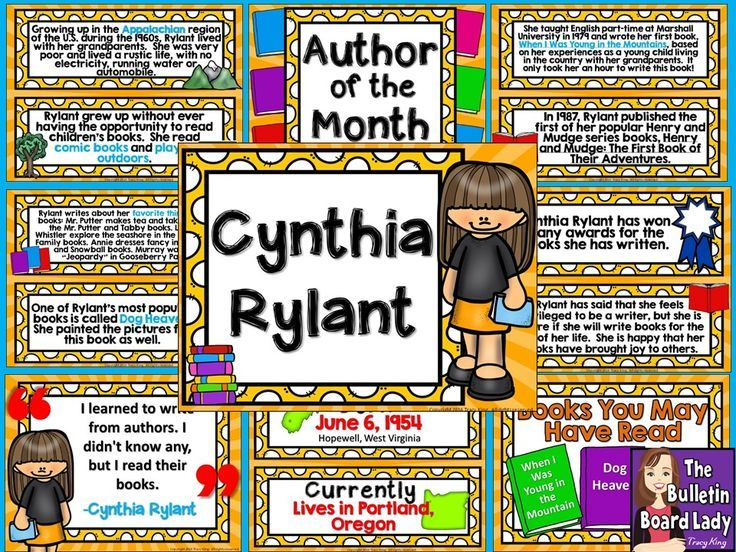 Cythnia Rylant Is The Author Of Month This Download Includes A Colorful Bulletin Board