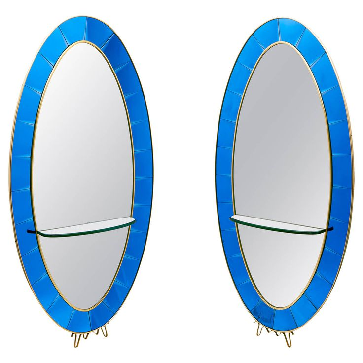 Pair of Italian Cristal Arte Blue Glass Mirrors, circa 1955 | From a unique collection of antique and modern floor mirrors and full-length mirrors at https://www.1stdibs.com/furniture/mirrors/floor-mirrors-full-length-mirrors/