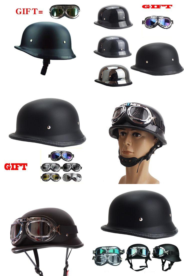 [Visit to Buy] Most Crazy Novelty Helmet Germany army helmet popular motorcycle helmet WWII Style Half Helmet Chopper Biker Pilot Goggles DOT #Advertisement