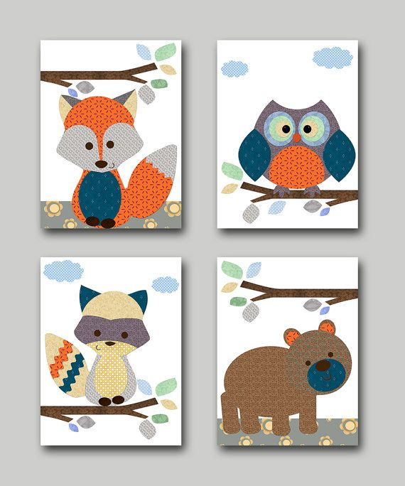 Owl Nursery Fox Nursery Bear nursery Baby Boy by artbynataera