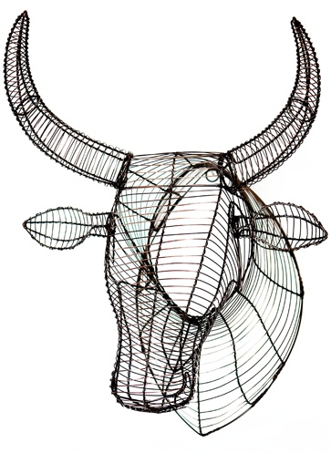 Wire Drawings on paper mache animal heads