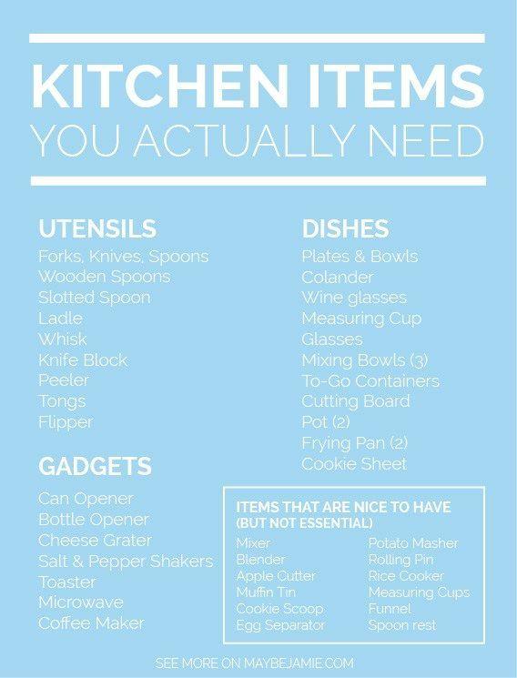 The 25 best Kitchen essentials list ideas on Pinterest