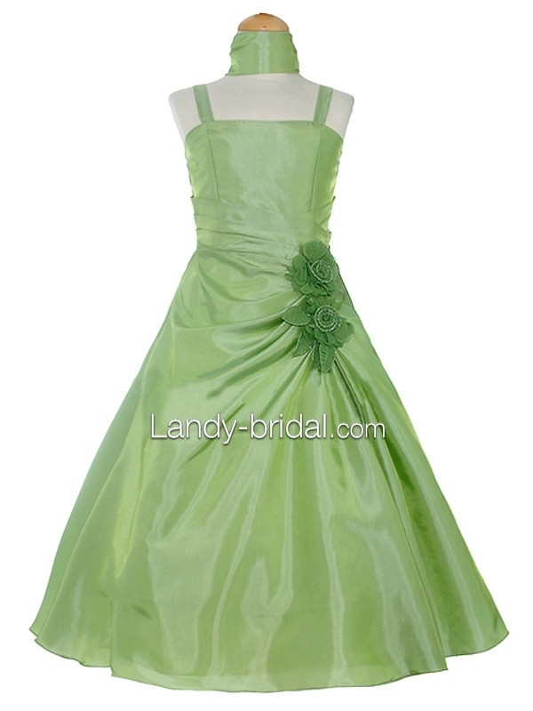 A Line Square Floor Length Taffeta Green Flower Girl Dress $62.27