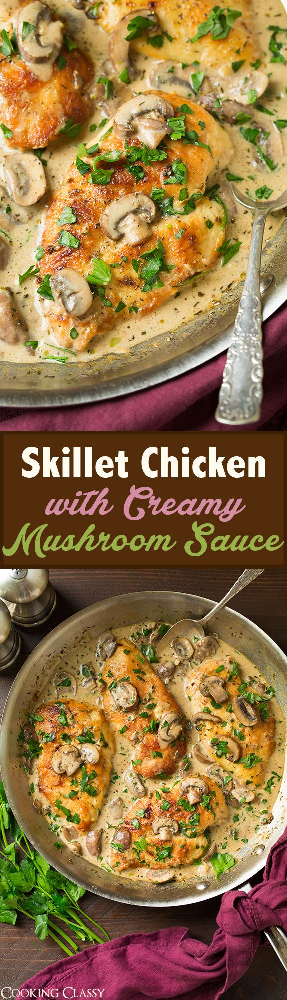 Skillet Chicken with Creamy Mushroom Sauce - flavorful and delicious!! Loved the creamy mushroom sauce!