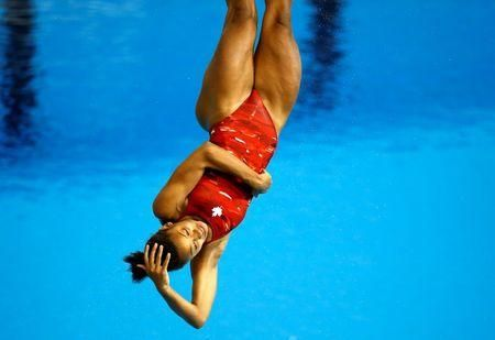 Jennifer Abel (Laval, Quebec) of Canada competes in the women's 3m springboard final on Sunday, July 12, during the 2015 Pan Am Games at Pan Am Aquatics UTS Centre and Field House. Mandatory Credit: Rob Schumacher-USA TODAY Sports