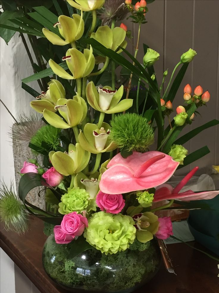 Display arrangement in greens pinks 13 best