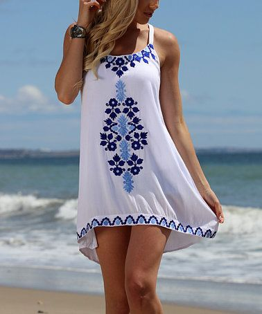 Loving this White & Blue Embroidery-Accent Tunic - Plus on #zulily! #zulilyfinds