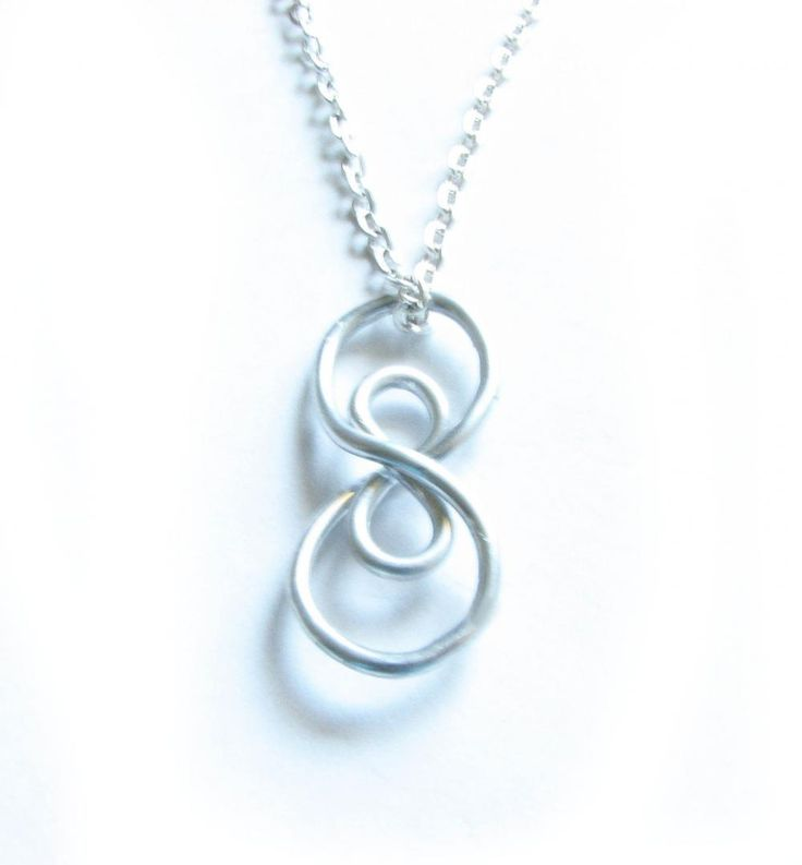 Silver Vertical Infinity Necklace Wire Wrapped Silver Plated