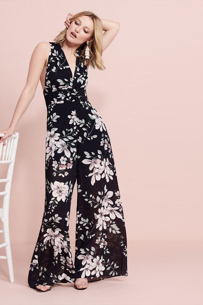 25ef762db1  ad  This floral jumpsuit is what happens when comfort meets chic. I would  so wear this to a wedding or for a night out!