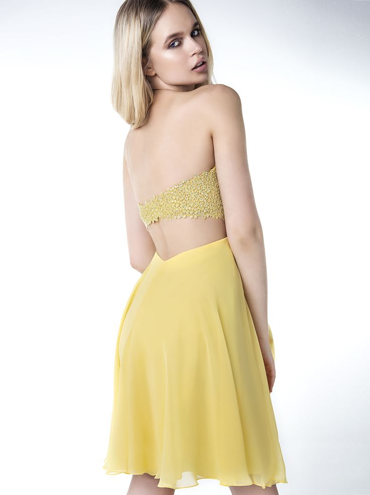 Short evening strapless dress with beaded bust. http://www.mikael.gr/en/new-collection/32128.html