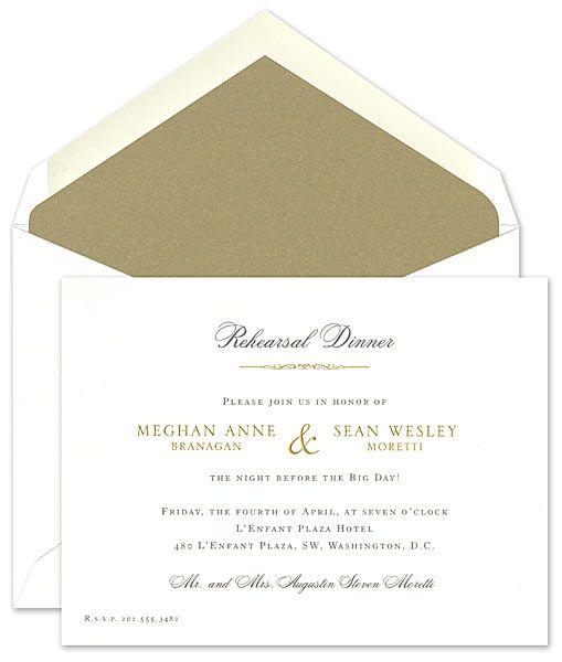 Exquisite Traditional Rehearsal Dinner Invitation From William Arthur