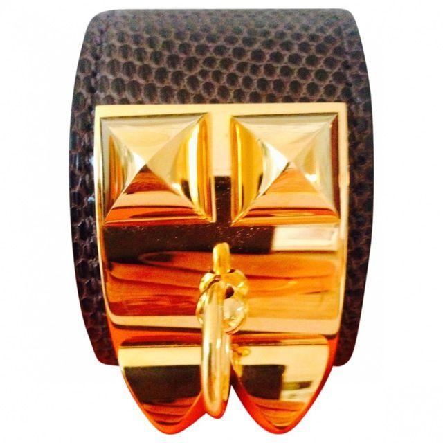 Shop HERMÈS Brown Exotic leathers Bracelet