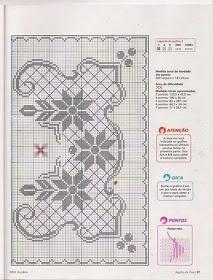 Punto de Cruz GRATIS: Cubre mesa navideño muy sencillo en un solo color