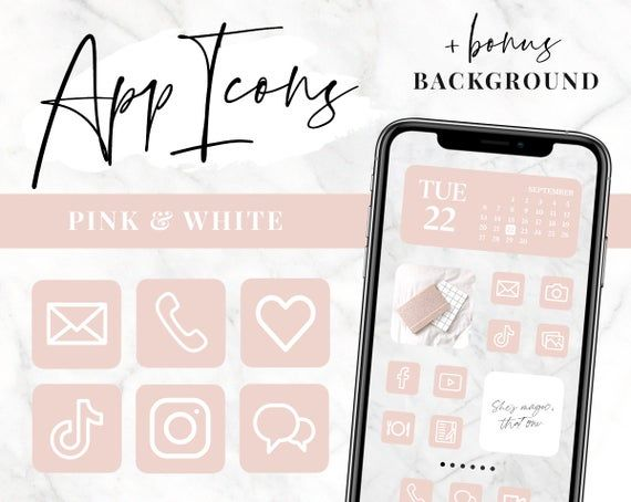 App Icons Ios 14 App Covers Ios 14 Widgets Aesthetic Iphone Home Screen Pink And White Icons In 2020 App Covers App Icon Homescreen