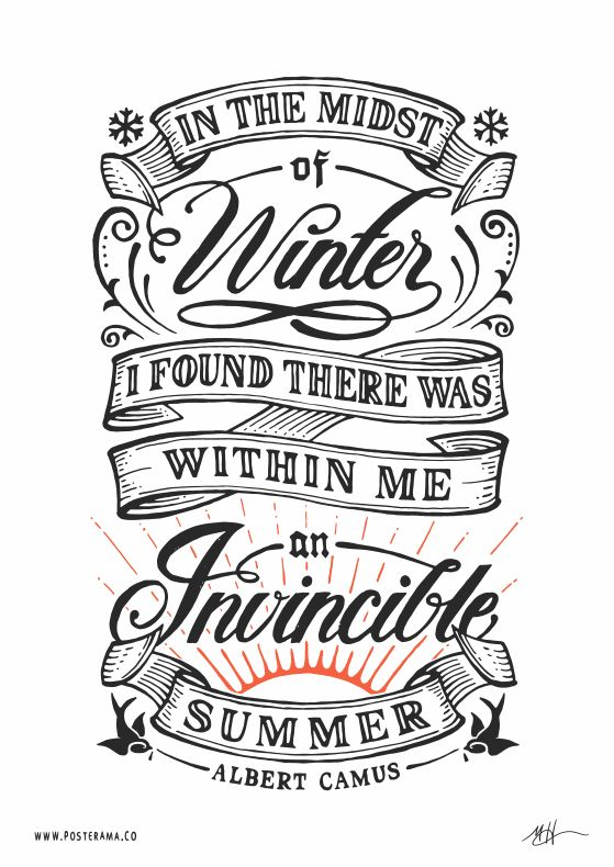 pinterest.com/fra411 #typographic - Inspirational quotes: Albert Camus Invincible Summer poster 2