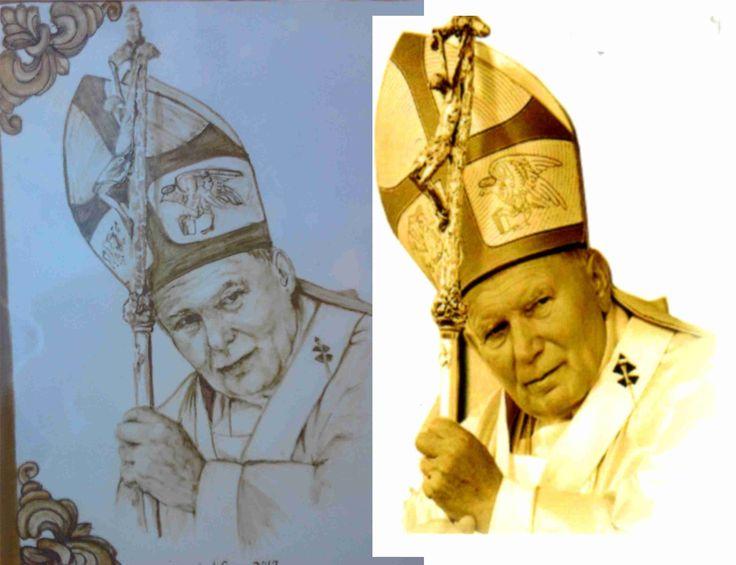 Como quedó el retrato de Juan Pablo II que pinté por encargo para la parroquia Virgen Madre de Nueva Andalucia, Marbella-MÄLAGA (ESPAÑA) a partir de  la fotografía proporcionada. Mira mis trabajos en www.isabelgan.es