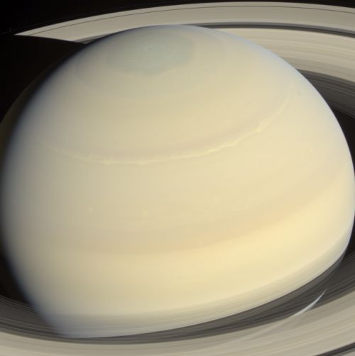 Planet Saturn, March 4, 2014, observed by the Cassini space probe.  (Gordan Ugarkov)