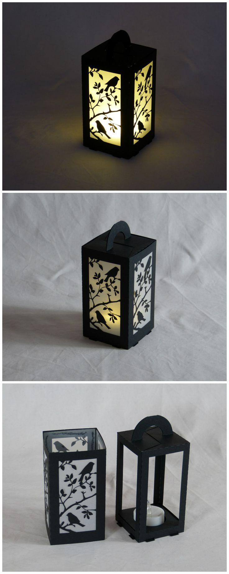 #lasercut paper lantern for LED tea light, 6x6x11cm.