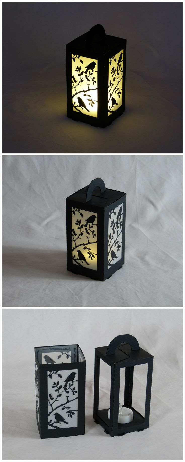 #lasercut paper lantern for LED tea light, 6x6x11cm.