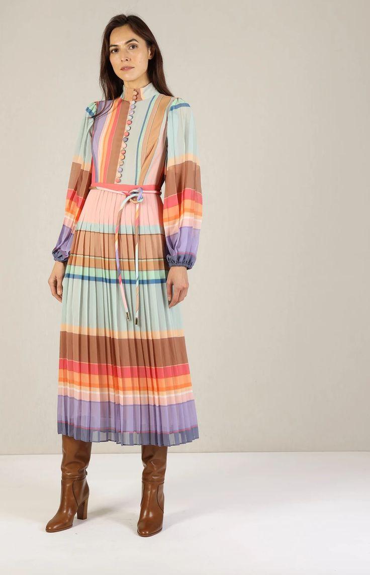midi kleid in rainbow stripe ndash anitahass com kleider stehkragen